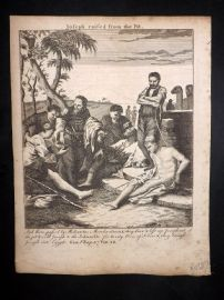 Butley 1762 Antique Religious Print. Joseph raised from the Pit